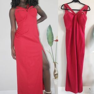 Vintage Red Cutout Long High Slit Evening Dress